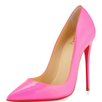 Christian Louboutin So Kate Patent 120mm Red Sole Pump, Shocking Pink