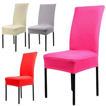 Universal Elastic Dining Chair Covers Spandex Stretch Chair Protector For Weddings Decoration Party Chair Covers Banquet