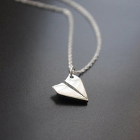 Paper Airplane Necklace - Simple Sterling Silver Necklace - Silver Everyday Necklace - Layered Necklace- Let's Fly Away