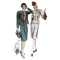 Vogue Couturier Sewing Pattern 235 Women's Suit  Vintage  1940 Size 12, Bust 30, Hip 33 incomplete