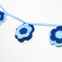 Flower Garland, Crochet Bunting, Spring Party Decoration, Boys Baby Shower Decor, Blue Floral Nursery Wall Hanging, Home Decor