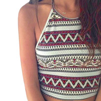 Sexy crop top Women Boho Tank Tops Bustier Crop Shirt Blouse Cami Plus Size S-XL Geometric print Tees Vest , Best Selling