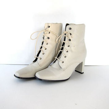 vintage 90s white leather tall lace up ankle boots. granny booties.