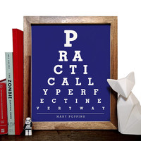 Mary Poppins, Practically Perfect In Every Way, Eye Chart, 8 x 10 Giclee Art Print, Buy 3 Get 1 Free