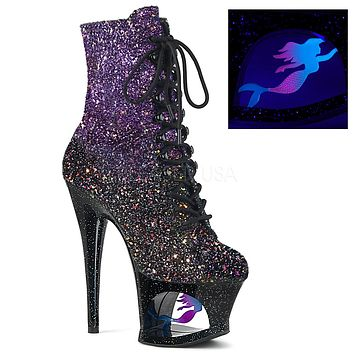 "Moon 1020MER Purple Black Blended Glitter Cut Out Mermaid Ankle Boot - 7"" High Heels - Pre-Order"