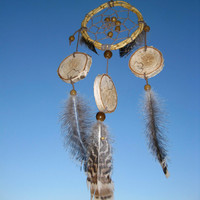 Bamboo Dream Catcher, Natural Dream Catcher,  Dreamcatcher, birch frame, handmade, wooden beads, feathers, suede ribbon