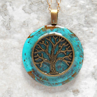 tree of life necklace: aqua blue - tree jewelry - wiccan jewelry - celtic jewelry - unique gift - spiritual jewelry - copper jewelry