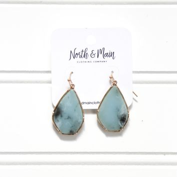 Stone Teardrop Earrings, Turquoise