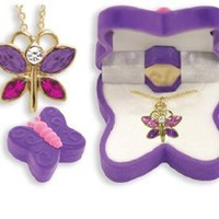 BUTTERFLY Necklace Charm Pendant w/ Crystal Wings in Butterfly Velour Gift Box-Colors may vary: Toys & Games