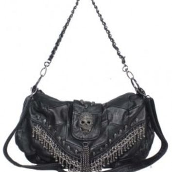 Skulls & Bead Tassels Embellished Shoulder Bag