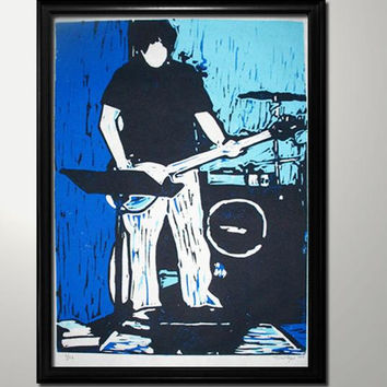 Bass player hand pulled multiple colors single-block reduction linocut  print