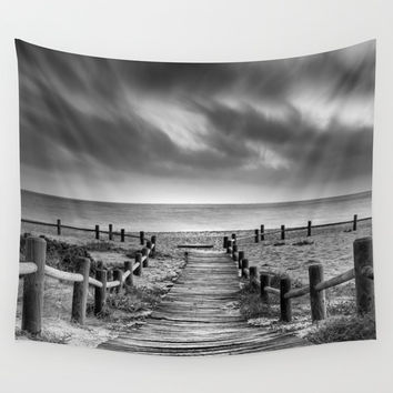 """To the beach...."" BW. At sunset Wall Tapestry by Guido Montañés"