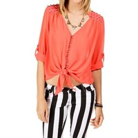 Coral Embellished 34 Sleeve Top