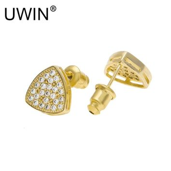 UWIN New Men Triangle Shine Full Zircon Rhinestone Crystal Gold Stud Earrings Hip hop Jewelry