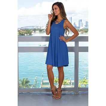 Blue Short Dress with Criss Cross Detail