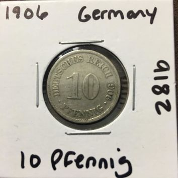 1906 German Empire 10 Pfennig Coin 9182