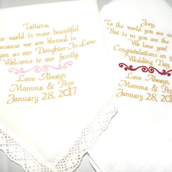 New Daughter Son Wedding Gift From Mom and Dad to the Bride - Groom Personalized Custom Embroidered Hankerchief by Canyon Embroidery