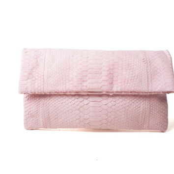 Soft Pink Python leather clutch with a brass chain strap (removable).