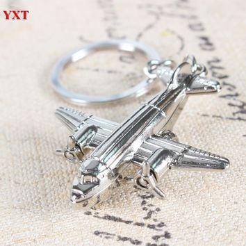 2015 New Arrival Metal Model Aircraft Airplane Charm Pendant Car Key Ring Keychain Creative Best Friend Gift Accessories