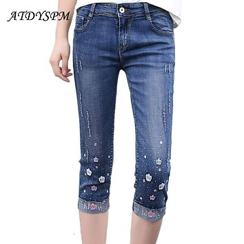 2017 Summer Fashion Women High Waist Skinny Jeans Embroidery Pencil Pants Capris Female Stretch Casual Cotton Hole Denim Pants