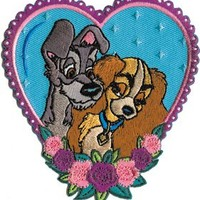 Lady and the Tramp In Love Embroidered Iron on Disney Movie Patch DS-279