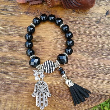 Tassel Collection - Silver Tone Hamsa Charm/Black Tassel/Black and White Beaded Hand Made Bracelet