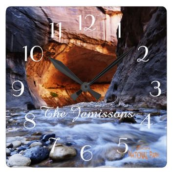 Clock, The Narrows Zion National Park Personalized Square Wall Clock