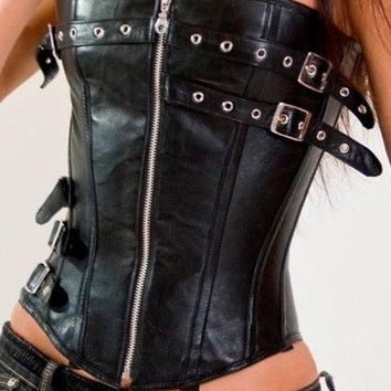 Leather Zipper up Black Corset = 1930250116