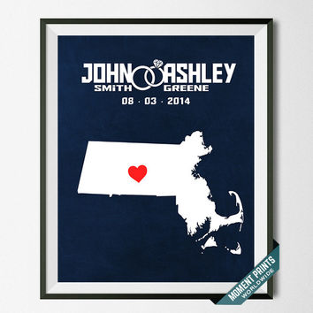 Wedding, Print, Massachusetts, Customized, Anniversary, Couple, Personalized, Gift, Map, Custom, Wall Art, Home Decor, Marriage [NO 20]