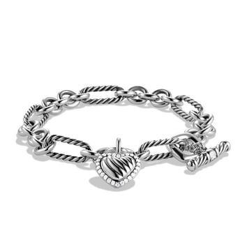 Cable Heart Charm Bracelet with Diamonds - David Yurman