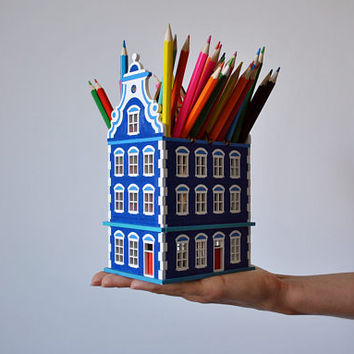 Verona wooden house / miniature architecture / home decor model / penholder