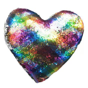 Heart Shaped Sequins Pillow Case