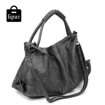 2016 hobos women messenger bags soft leather handbags solid  female large capacity  totes zipper motorcycle shoulder bags