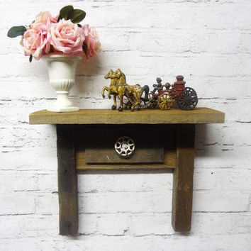 Rustic Barn Wood Small Table Shelf Primitive Shelf Cottage Chic Shelf Miniature Farm House Table photo prop knob antique vintage barn wood