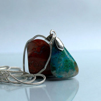 Blue natural mineral Chrysocolla stone free form pendant with silver plated necklace