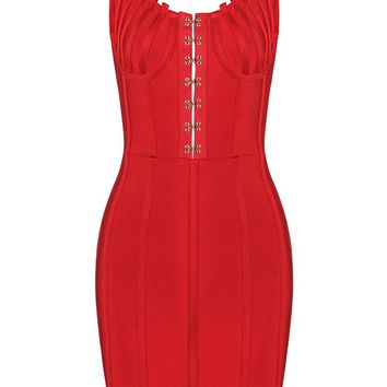 Honey Couture TYRA Red Front Detail Low Back Mini Bandage Dress