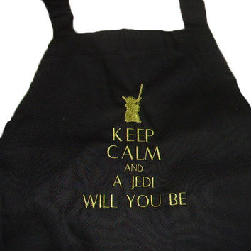 Birthday Gift Mothers Day Black Apron Star Wars Fun Yoda Unisex Apron