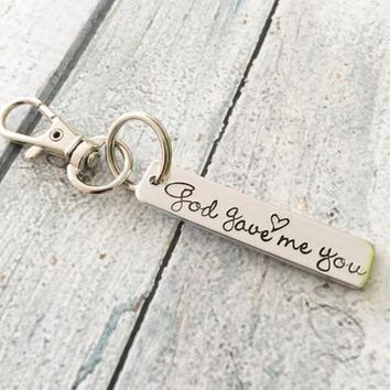 God gave me you - Personalized keychain -Zipper