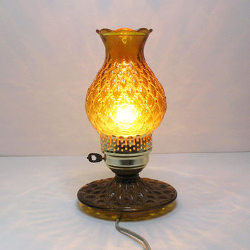 Vintage hurricane lamp - Amber glass quilted diamond pattern brown glass lamp - Cottage chic lighting decor