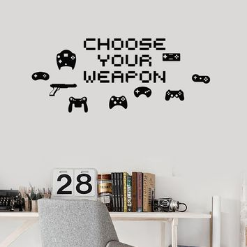 Vinyl Wall Decal Choose Your Weapon Quote Video Game Pixel Art Stickers Mural (ig5274)