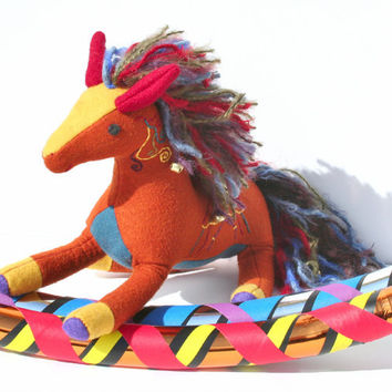 "Woolen Circus Horse, ""Bailey"" the Magical Animal Companion, Herb-Stuffed with Lavender, Herbs & Flax seeds, Handmade, Waldorf, Multicolored"