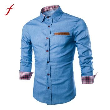 2017 Fashion Summer Luxury Mens Casual Stylish Slim Fit Long Sleeve Casual Formal Cotton Shirts Tops Solid Turn-down Collar Tops