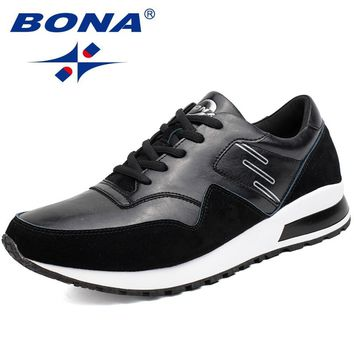 BONA New Classics Style Men Walking Shoes Lace Up Suede Leather Sport Shoes Comfortable Ourdoor Trainer Sneakers Free Shipping
