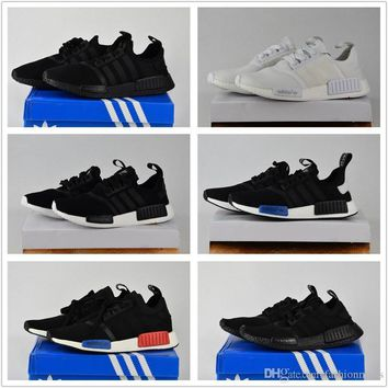 2017 Adidas Originals Discount Cheap NMD Runner Primeknit White Red Blue NMD Runner Sp