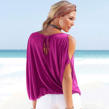 Oversized Women Summer Off Shoulder Ladies Casual Loose Tops Blouse S-XL