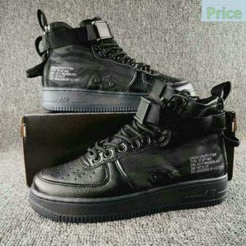 Authentic Nike Special Field Air Force 1 Mid Black Tiger Camo shoe