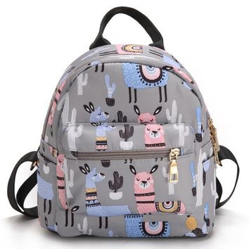 School Backpack trendy unicorn cartoon flamingo Backpack shoulder Travel Bag for teenagers girls women Canvas dot school bag AT_54_4