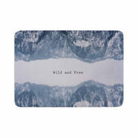 "Suzanne Carter ""Wild and Free"" Blue Gray Digital Memory Foam Bath Mat"