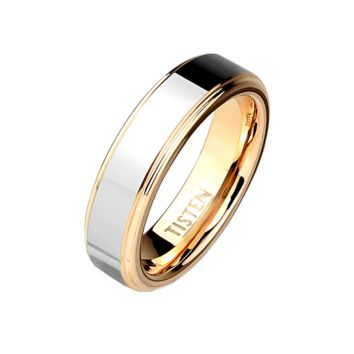 Glisten - Unisex Tisten Two Tone Silver And Rose Gold IP Ring