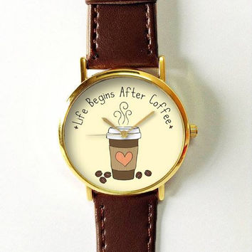 Coffee Watch  Watches for Men Women Leather Watch Ladies Vintage Style Jewelry Accessories Gifts Spring Fashion Unique Quotes Funny Heart